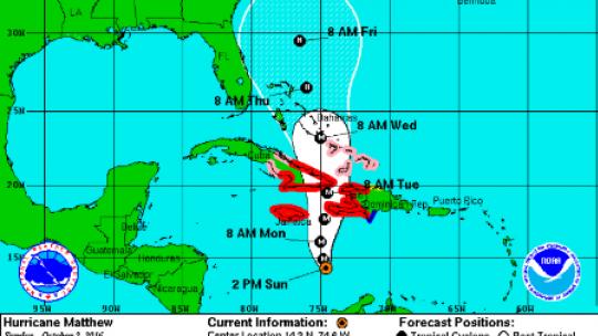 Hurricane Matthew's path shifts, expected to pummel Haiti